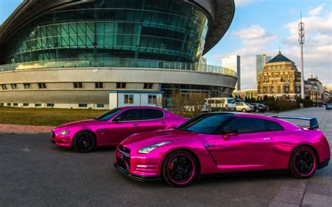 maserati quattroporte chrome a nissan gt r and a maserati quattroporte with pink chrome