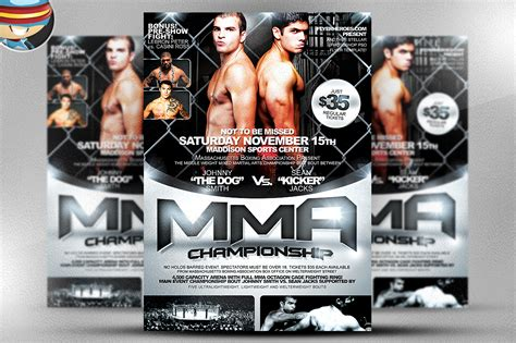 ufc card template mma flyer template flyer templates on creative market