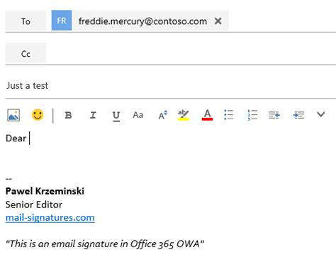 Office 365 Mail Change Signature How To Add Or Change An Email Signature In Office 365 Owa