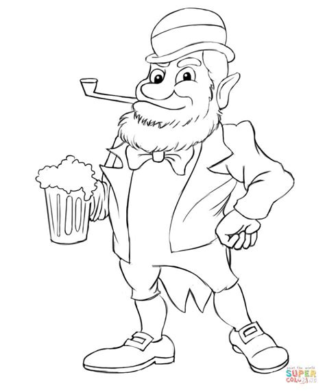 leprechaun with beer coloring page free printable
