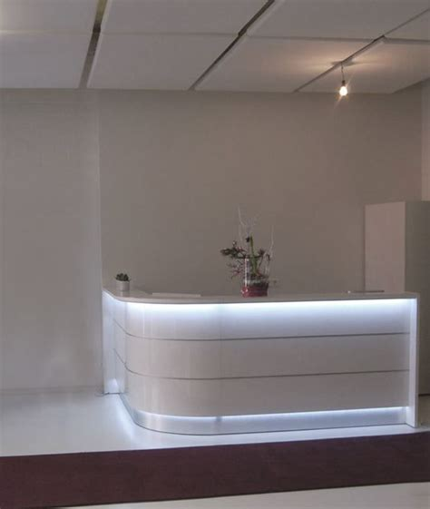 rounded reception desk curved l rounded glossy white reception desk with led