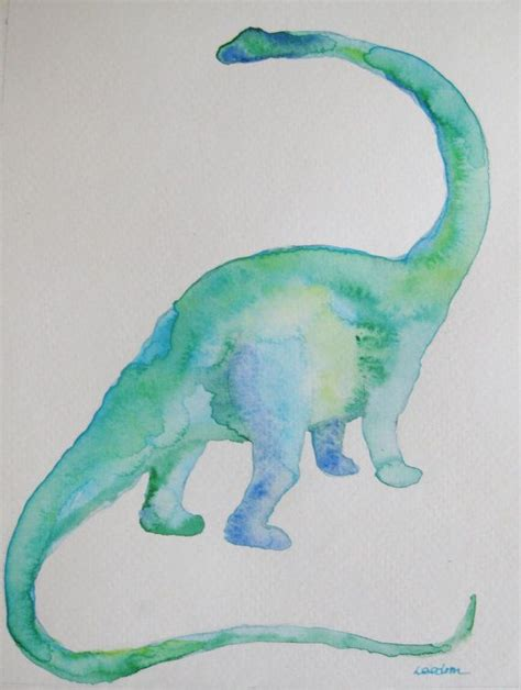 dinosaur watercolor painting original by