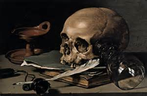 still skull and writing quill 1628 pieter claesz