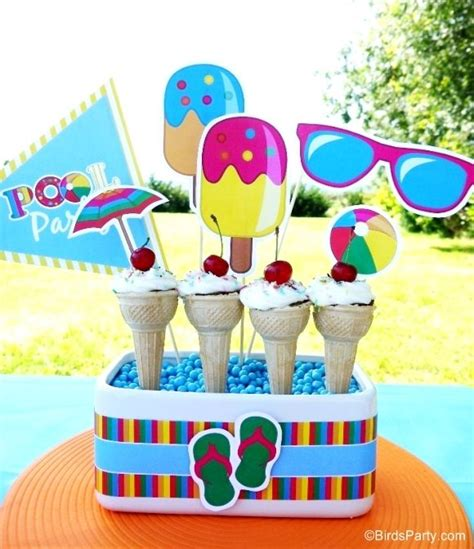 printable summer party decorations pool party ideas kids summer printables birthday party
