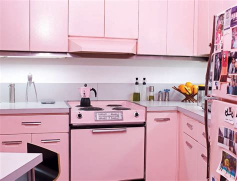 Pink Kitchens | cool pink kitchen design with retro and chic look digsdigs