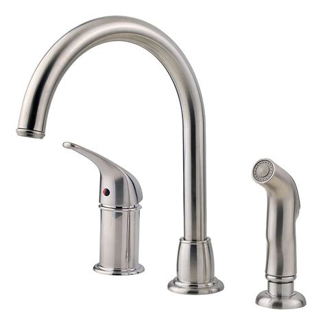 kitchen faucet with sprayer pfister prive single handle pull out sprayer kitchen faucet in stainless steel f 5347pvs the