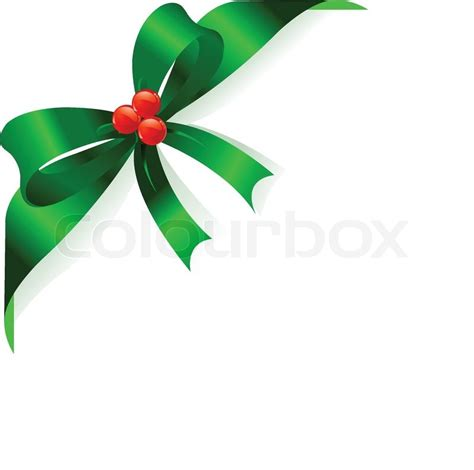 page corner with christmas green ribbon and bow place for