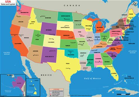 map of usa showing states us map with capitals 50 states and capitals us state