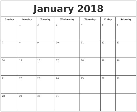 printable calendar 2018 large numbers january 2018 printable calendar monthly calendar template