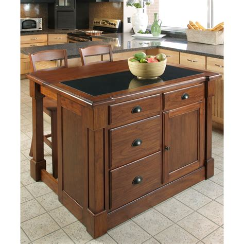 aspen rustic cherry granite top kitchen island w hidden drop leaf support and two