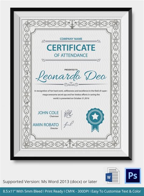 Certificate Of Attendance Templates by 50 Creative Custom Certificate Design Templates Free