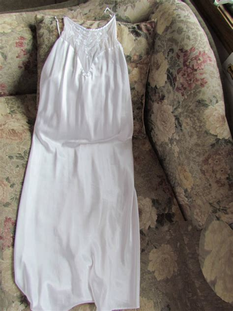 Floor Length Nightgowns by Val Mode Vintage Satin Nightgown White Floor