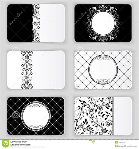 cards template black and white vintage business cards stock vector illustration of
