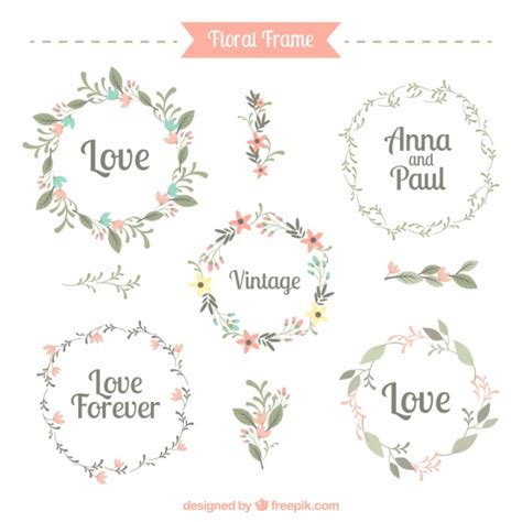 cornici illustrator five floral frames vector free