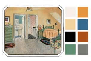 6 color palettes based on early 1900s vintage bedrooms
