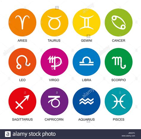 colors of the zodiac rainbow colored astrological signs of the zodiac twelve circles with stock photo royalty free