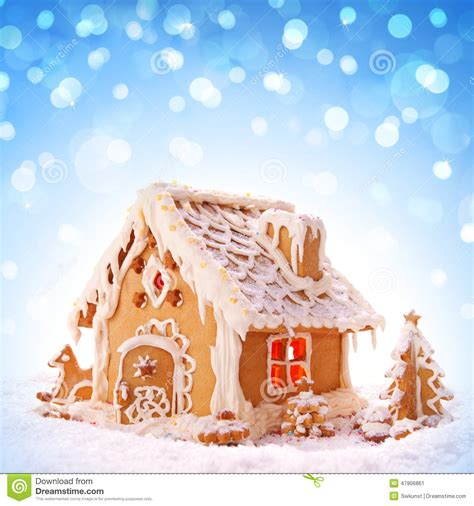 christmas card holiday gingerbread house stock image