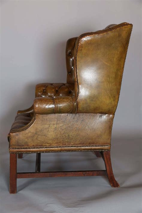 antique wing chair antique english distressed leather wing chair at 1stdibs