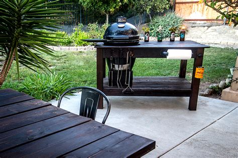 grill table plans free build a diy grill table for a kamado grill diy done right