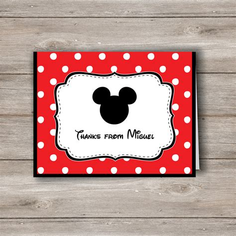 Mickey Thank You Card Template by Mickey Mouse Personalized Note Cards With Editable Text