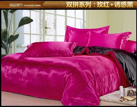 black and hot pink silk satin bedding comforter set king