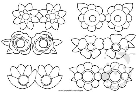 fiori da ritagliare e colorare maschere per bambini con fiori da colorare