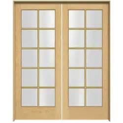 Prehung Double Doors Interior Jeld Wen Woodgrain 10 Lite Unfinished Pine Prehung