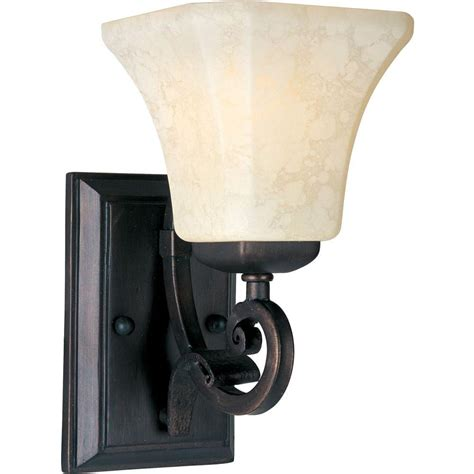 Rustic Wall Sconce Lighting Maxim Lighting Oak Harbor 1 Light Rustic Burnished Wall Sconce 21063flrb The Home Depot