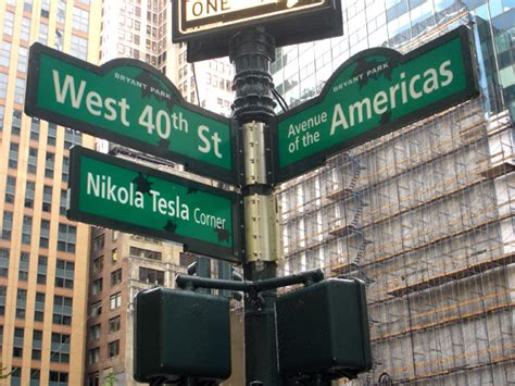 Tesla Building New York City New Nikola Tesla Corner Sign On West 40th