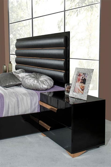piece italian modern black rosegold bedroom set