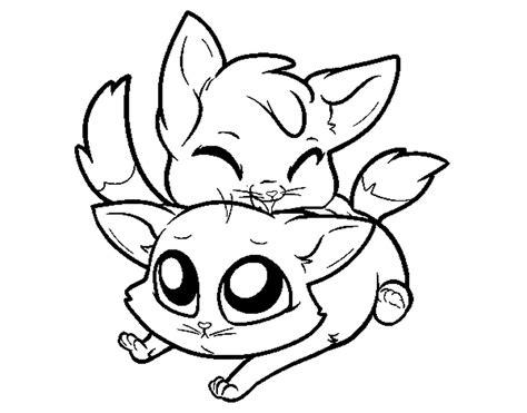 two cats coloring page coloring page two kittens color online coloringcrew 764392