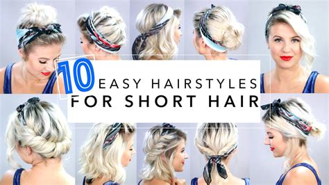 easy hairstyles for short hair youtube 10 easy hairstyles for short hair with headband milabu