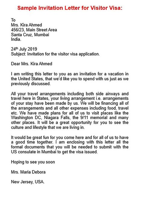 visa invitation letter word mous syusa