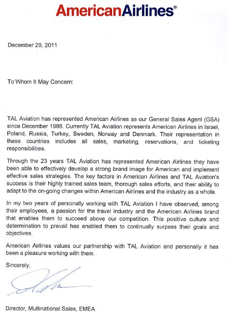 Service Letter In Aviation Aa Letter Of Reference Testimonials About Us Tal Aviation