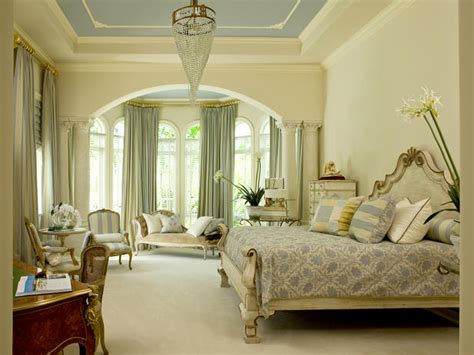neutral traditional bedroom with blue tray ceiling hgtv