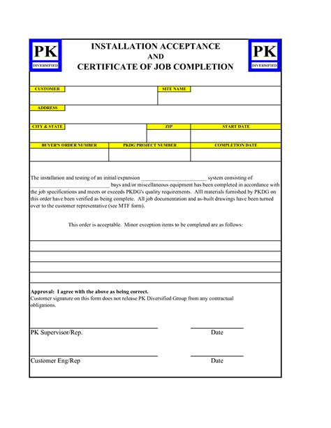 5 best images of work completion certificate sle work