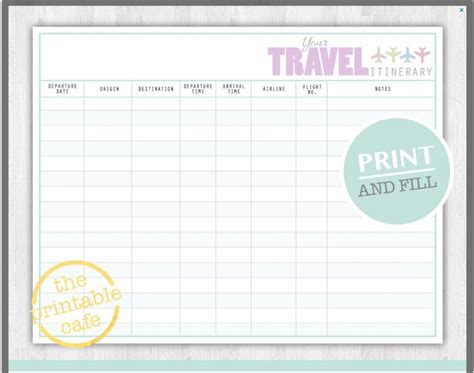 printable vacation planner template 10 itinerary template exles templates assistant