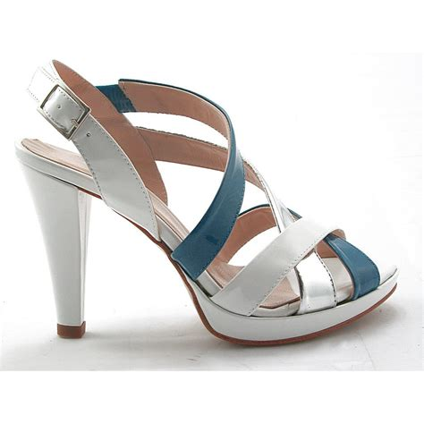 Platform High Silver And White small or large platform sandal in white airforce blue and silver patent leather ghigocalzature