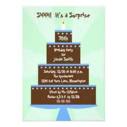 70th birthday invitation cake 5 quot x 7 quot invitation card zazzle