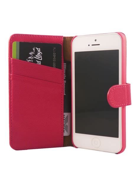 Iphone 55s Leather Flip Pink flip wallet genuine yak leather cover for iphone 5 5s