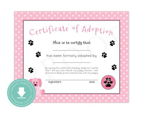 printable animal adoption certificate instant download puppy adoption certificate puppy