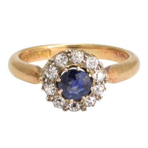 antique sapphire cluster ring for