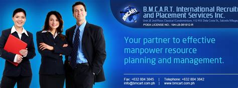 Employment Recruitment And Placement Specialists by Bmcart International Recruitment And Placement Services Inc Openings Poea License Status