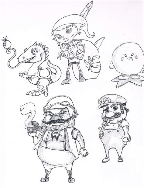 coloring pages nintendo characters nintendo character drawings sketch coloring page