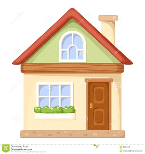 Small Bungalow Houses by Cartoon House Vector Illustration Stock Vector Image