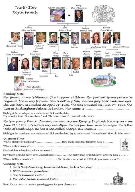 printable quiz about the royal family the british royal family worksheet free esl printable