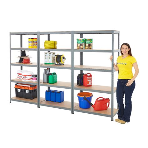 3 Bay Garage Shelving Storeroom Steel Storage Bays 175kg