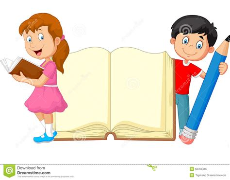 libro childrens writers artists cartoon kids with book and pencil stock vector illustration of lifestyle open 50763466