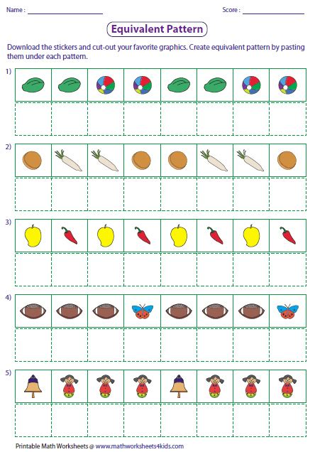 bead pattern worksheet cut and paste pattern worksheets for kindergarten add a