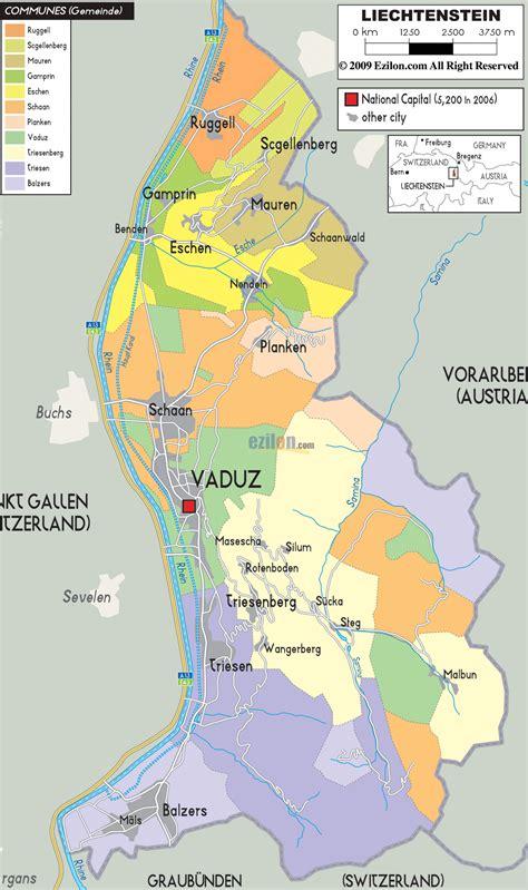 where is liechtenstein on a map detailed political map of liechtenstein ezilon maps